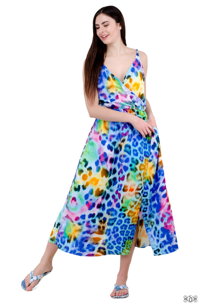 NATURE MORTE Turquoise Leopard Devarshy Printed Long Cotton Dress