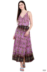 ART NOUVEAU Decorative Pink Devarshy Pure Cotton Long Slit Dress - 021A