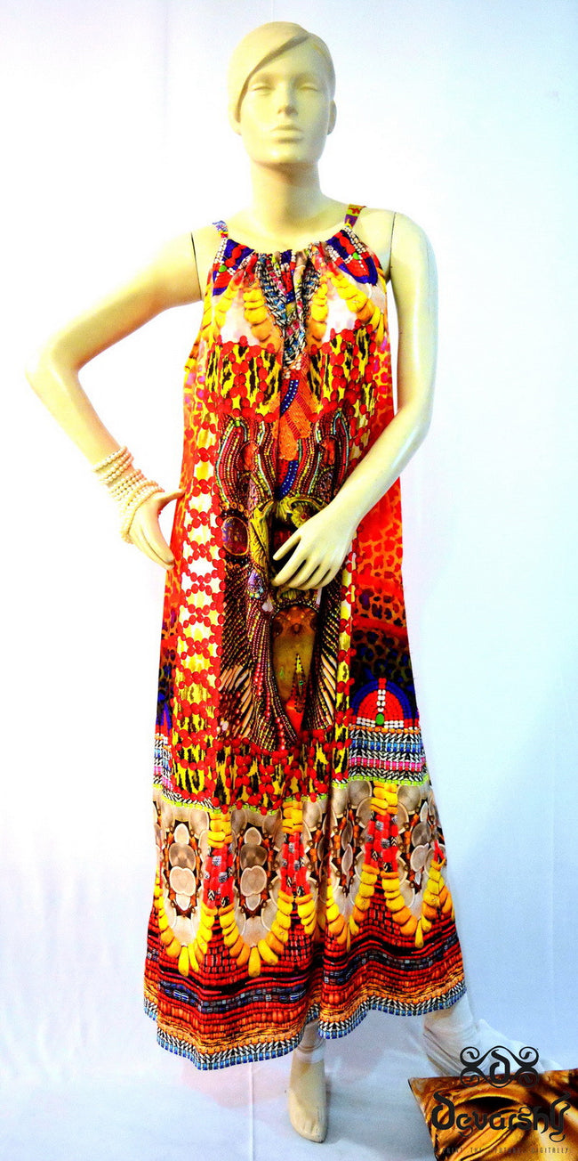 MAASAI-ENGAI Tribal Ornate Devarshy Embellished Drawstring Dress - 1071A