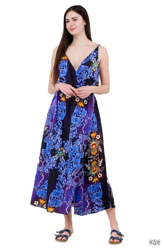 BAROCOCO Dark Florals Devarshy 100% Cotton Long Dress Side Slit Summer Wear