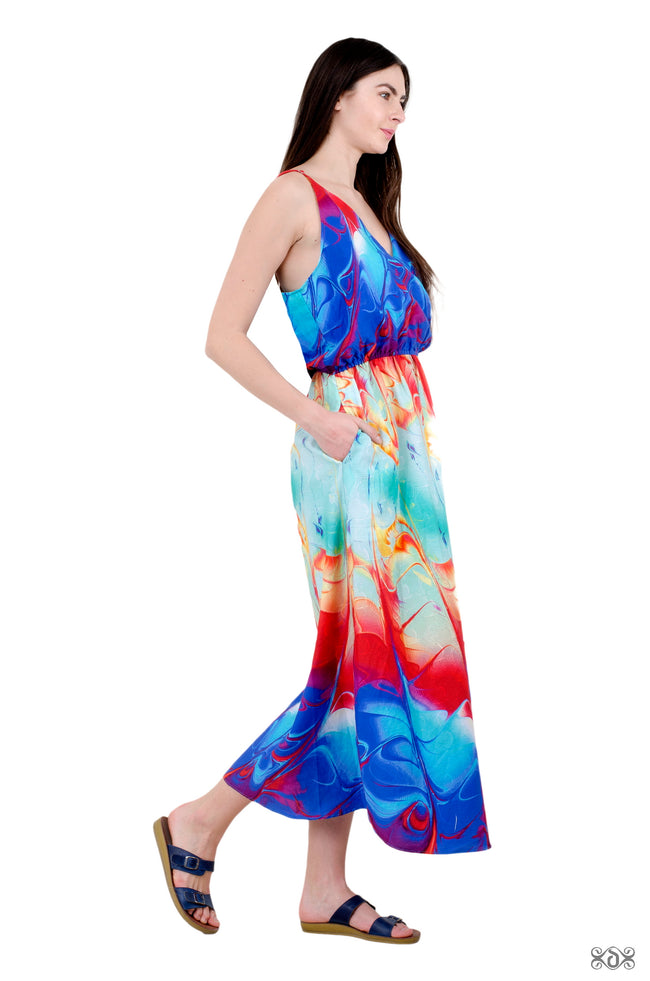 AERO-TERRANIUS Stormy Waves Devarshy Pure Cotton Long Strap Dress