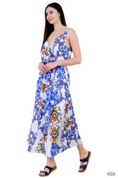 BAROCOCO Blue Florals Printed Devarshy Pure Cotton Long Wrap Dress