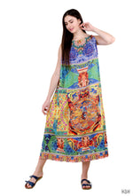 Devarshy Tibetan Thangka Digital Printed Long Drawstring Dress -  1064C