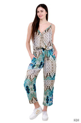 INDICA Magnifica Marble Mesh Devarshy Spaghetti Straps Cotton Jumpsuit