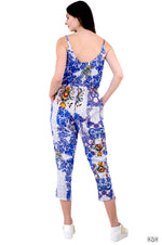 BAROCOCO Blue Florals Devarshy Pure Cotton Women Tapered Jumpsuit