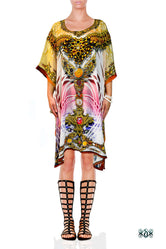 Devarshy AURUM 79 Ornamental Pink Pure Silk Short Embellished Kaftan - 1011A