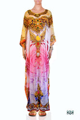 AURUM 79 Exquisite Pink Crystals Embellished Devarshy Long Kaftan - 1011A
