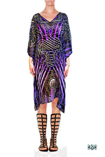 Devarshy Designer Purple Animal Print Short Embellished Kaftan Dress Sale - 1036C , Apparel - DEVARSHY, DEVARSHY  - 1