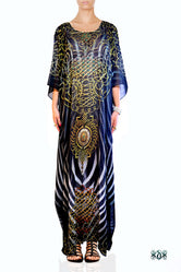 NATURE MORTE Ornate Stripes Devarshy Long Embellished Kaftan - 1036A