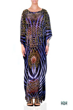 Devarshy Blue & Black Stripes Digital Print Long Embellished Designer Kaftan - 1036 B , Apparel - DEVARSHY, DEVARSHY  - 1