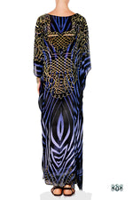 Devarshy Blue & Black Stripes Digital Print Long Embellished Designer Kaftan - 1036 B , Apparel - DEVARSHY, DEVARSHY  - 3
