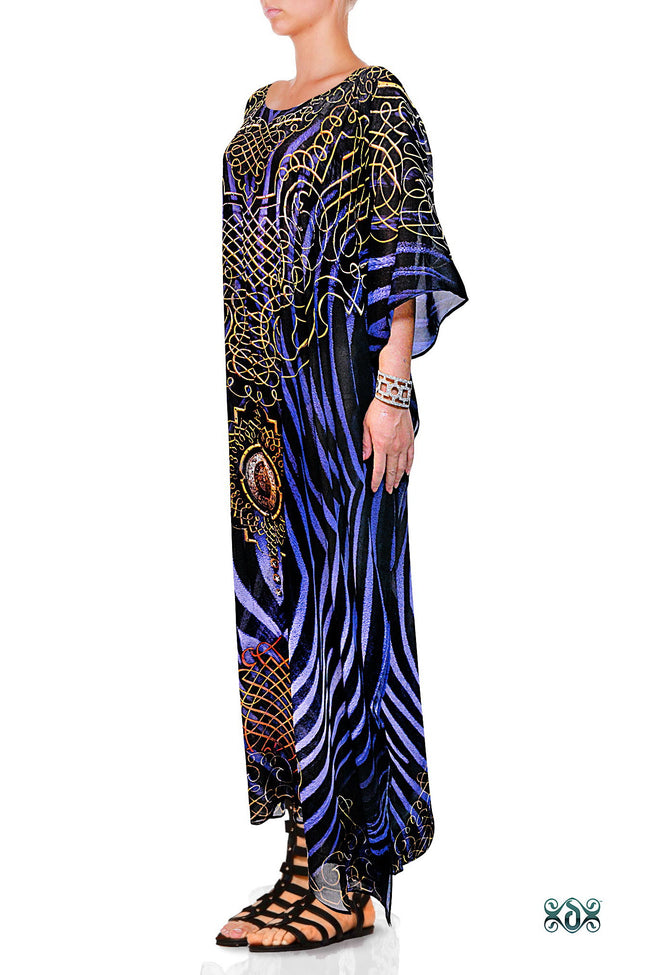 Devarshy Blue & Black Stripes Digital Print Long Embellished Designer Kaftan - 1036 B , Apparel - DEVARSHY, DEVARSHY  - 2