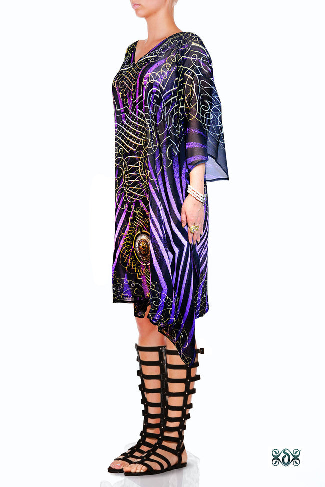 Devarshy Designer Purple Animal Print Short Embellished Kaftan Dress Sale - 1036C , Apparel - DEVARSHY, DEVARSHY  - 2