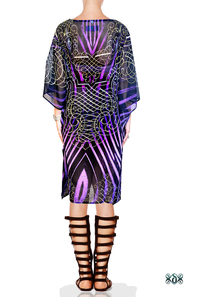 Devarshy Designer Purple Animal Print Short Embellished Kaftan Dress Sale - 1036C , Apparel - DEVARSHY, DEVARSHY  - 3