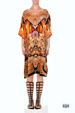 NATURE MORTE Decorated Feathers Devarshy Short Embellished Kaftan - 1039A