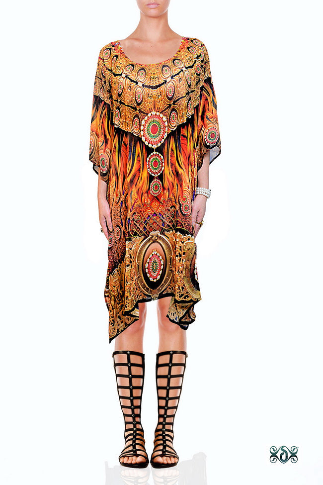 NATURE MORTE Decorative Feathers Devarshy Short Embellished Kaftan - 1040A