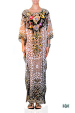 Devarshy Designer Digital print Luxury Crystals Ornate Long Embellished Kaftan -1047A , Apparel - DEVARSHY, DEVARSHY  - 1