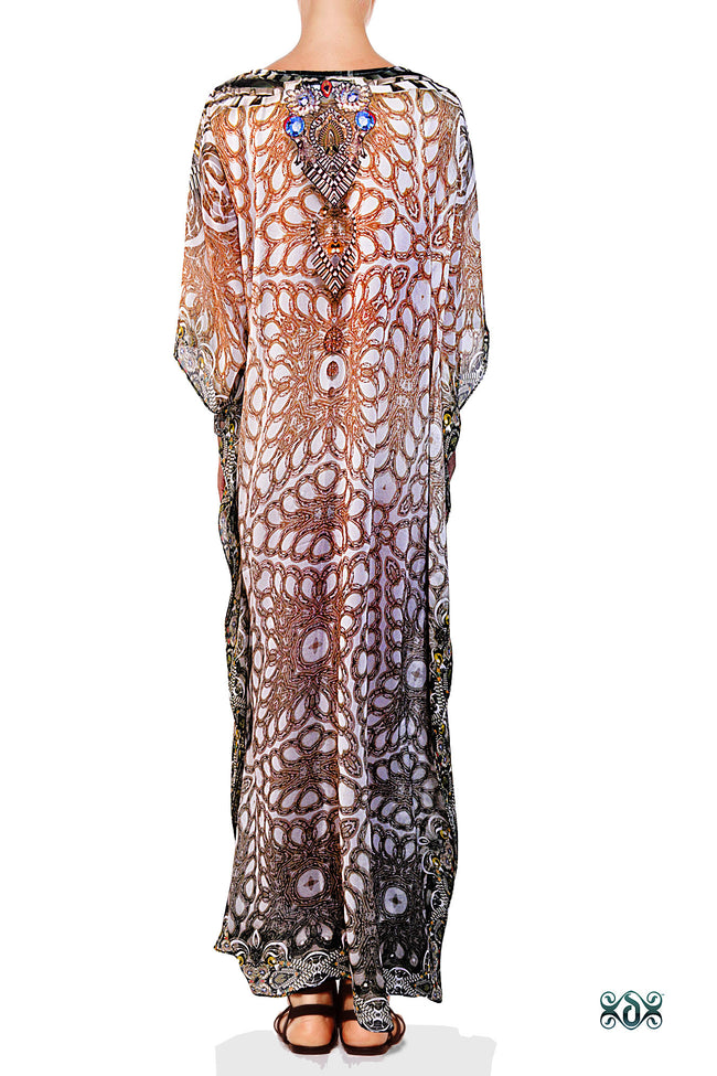 Devarshy Designer Digital print Luxury Crystals Ornate Long Embellished Kaftan -1047A , Apparel - DEVARSHY, DEVARSHY  - 3