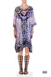 CRYSTALLIUS Decorated Stones Devarshy Pure Silk Short Embellished Kaftan - 1047A