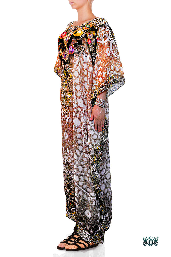 Devarshy Designer Digital print Luxury Crystals Ornate Long Embellished Kaftan -1047A , Apparel - DEVARSHY, DEVARSHY  - 2