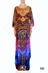 AURUM 79 Intricate Golden Ornate Devarshy Long Embellished Kaftan - 1049A
