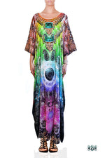 Devarshy Dazzling Digital print Designer Long Crystals Embellished Kaftan Dress - 1055A , Apparel - DEVARSHY, DEVARSHY  - 1