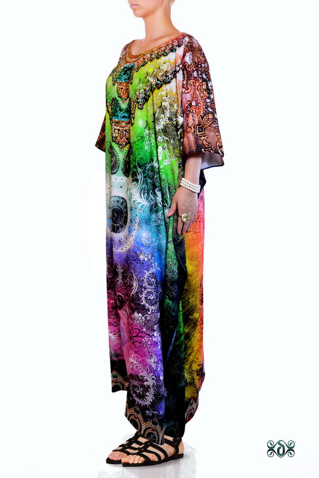 Devarshy Dazzling Digital print Designer Long Crystals Embellished Kaftan Dress - 1055A , Apparel - DEVARSHY, DEVARSHY  - 2