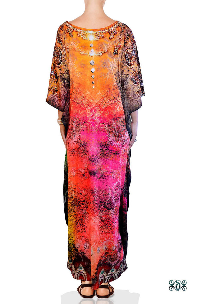Devarshy Dazzling Digital print Designer Long Crystals Embellished Kaftan Dress - 1055A , Apparel - DEVARSHY, DEVARSHY  - 3