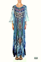 Devarshy Blue waves Decorative Chains Digital Print Crystals Embellished Long Designer Kaftan - 1060A