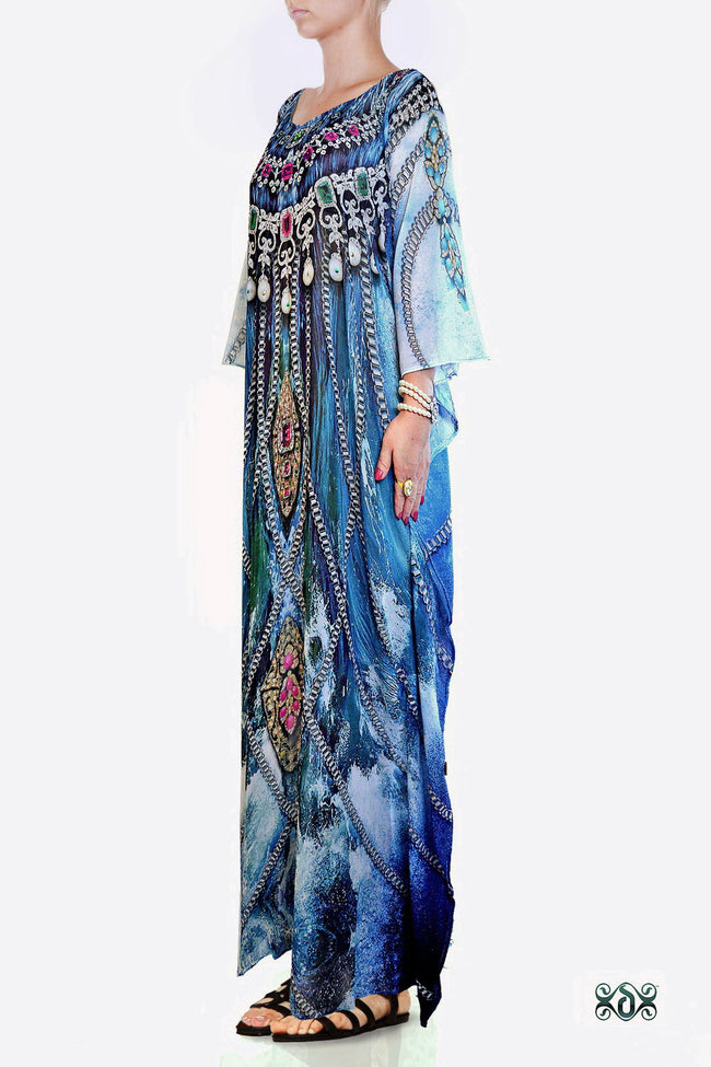 SUB- AQUALOGY Blue Ornate Chains Devarshy Long Embellished Kaftan - 1060A