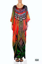 NATURE MORTE Decorated Animal Print Devarshy Long Embellished Kaftan - 1061A