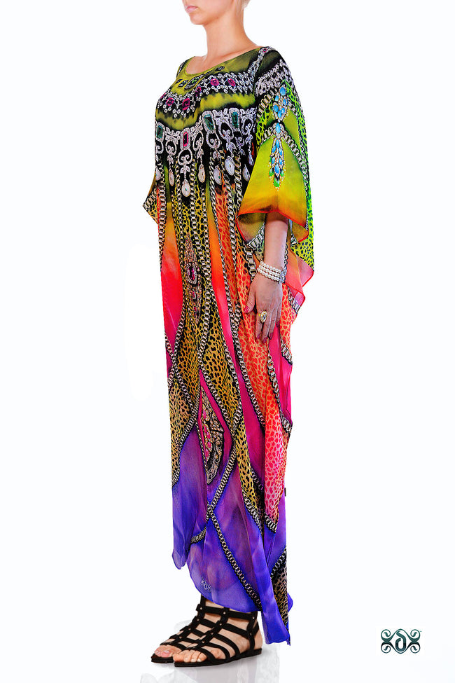 Devarshy Designer Exquisite Animal print Long Embellished Kaftan Dress - 1061B , Apparel - DEVARSHY, DEVARSHY  - 2