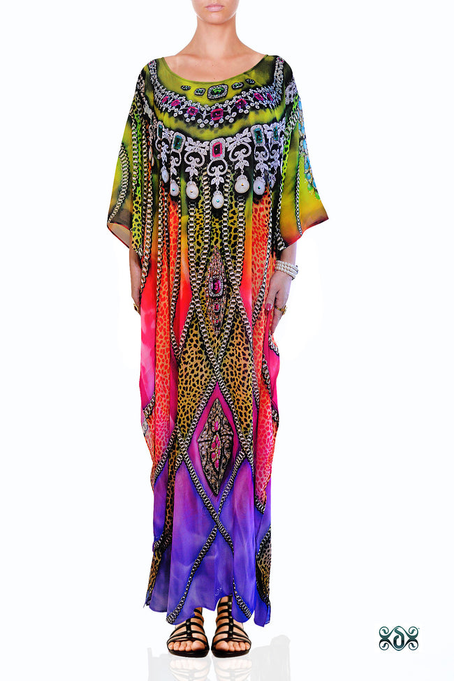 Devarshy Designer Exquisite Animal print Long Embellished Kaftan Dress - 1061B , Apparel - DEVARSHY, DEVARSHY  - 1