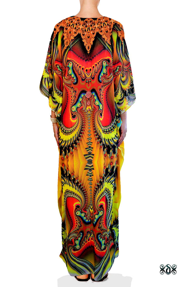 Devarshy Digital print Yellow Decorative Long Embellished Kaftan Dress - 1062B , Apparel - DEVARSHY, DEVARSHY  - 3