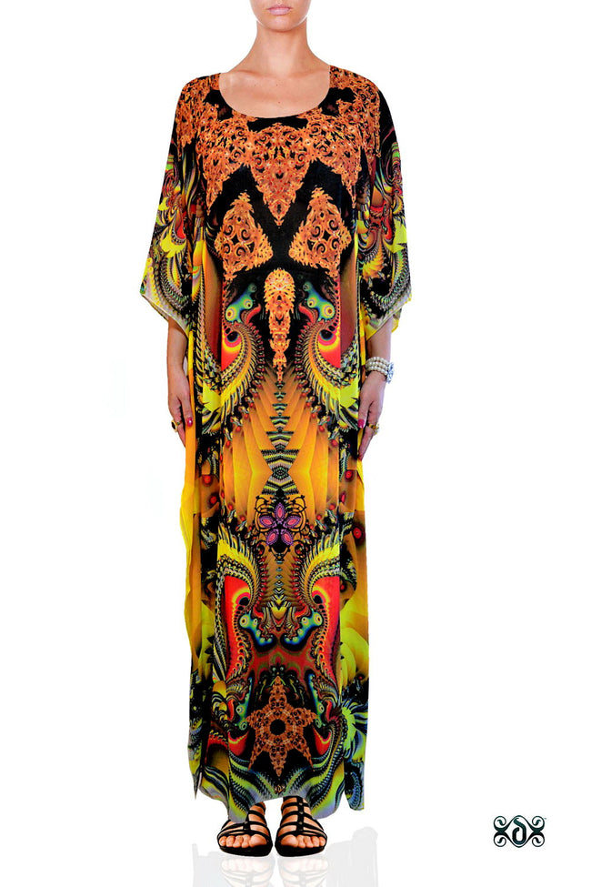 Devarshy Digital print Yellow Decorative Long Embellished Kaftan Dress - 1062B , Apparel - DEVARSHY, DEVARSHY  - 1