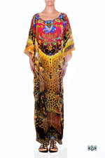 Devarshy Designer Luxury Yellow Animal Print Long Embellished Kaftan Dress - 1063A , Apparel - DEVARSHY, DEVARSHY  - 1