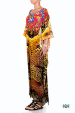 Devarshy Designer Luxury Yellow Animal Print Long Embellished Kaftan Dress - 1063A , Apparel - DEVARSHY, DEVARSHY  - 2