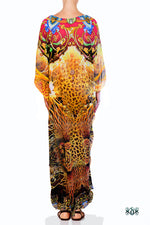 Devarshy Designer Luxury Yellow Animal Print Long Embellished Kaftan Dress - 1063A , Apparel - DEVARSHY, DEVARSHY  - 3