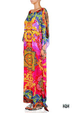 Devarshy Designer Pinkish Stylish Tibetan Design Long embellished printed Kaftan -1066A , Apparel - DEVARSHY, DEVARSHY  - 2