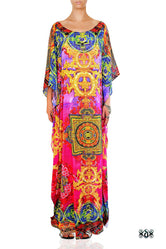 Devarshy Pink Thangka Painting Crystals Embellished Long Kaftan - 1066A