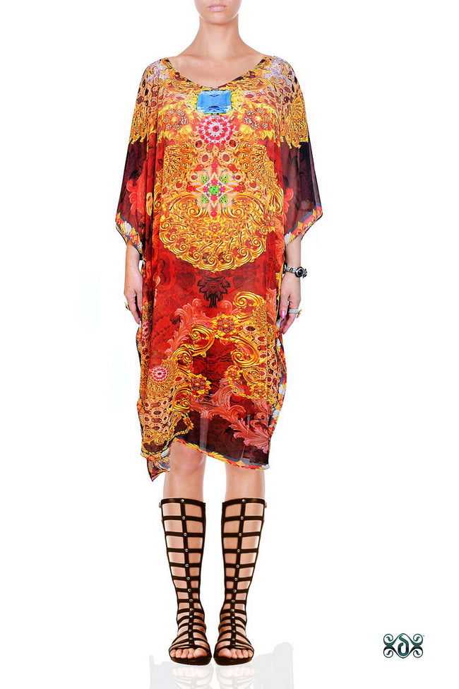 Devarshy Designer Brown Ornate Baroque Style Short Embellished Kaftan Dress -1067C , Apparel - DEVARSHY, DEVARSHY  - 1