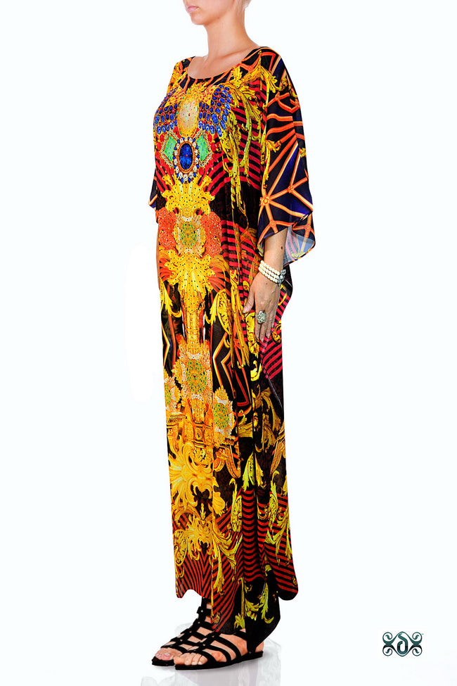 BAROCOCO Radiant Ornate Devarshy Crystals Embellished Long Kaftan - 1069C