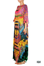 Devarshy Designer Stylish Green Animal print Tribal design Embellished Long Kaftan -1072C , Apparel - DEVARSHY, DEVARSHY  - 2