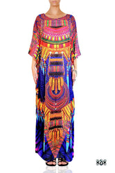 MAASAI-ENGAI Violet Tribal Ornate Devarshy Long Embellished Kaftan - 1072A