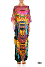 Devarshy Designer Stylish Green Animal print Tribal design Embellished Long Kaftan -1072C , Apparel - DEVARSHY, DEVARSHY  - 1