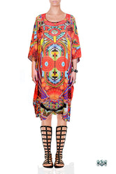 MAASAI-ENGAI Radiant Tribal Ornate Devarshy Pure Silk Short Kaftan - 1073B
