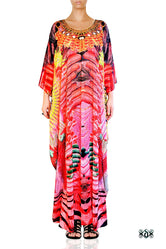 NATURE MORTE Red Feathers Printed Devarshy Long Embellished Kaftan - 1075B