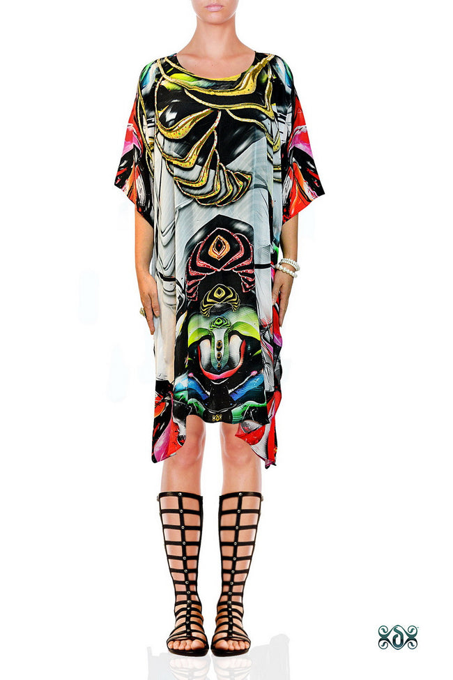 ART MODERNE Artistic Colors Devarshy Pure Silk Short Embellished Kaftan - 1081A