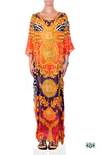 Devarshy Animal Print Gold Ornate Long Embellished Designer Maxi Kaftan - 1084A , Apparel - DEVARSHY, DEVARSHY  - 1