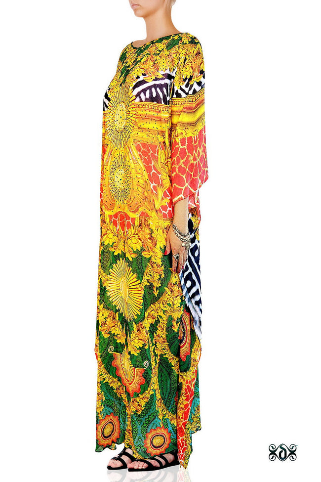Devarshy Luxurious Green Animal Print Golden Ornate Long Embellished Designer Kaftan -1084B , Apparel - DEVARSHY, DEVARSHY  - 2